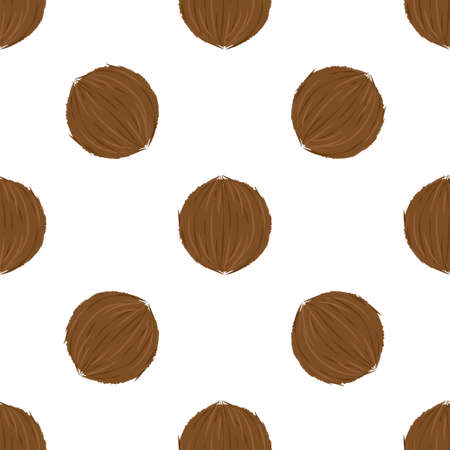 Coconut. Seamless Vector Patterns on White Background 向量圖像