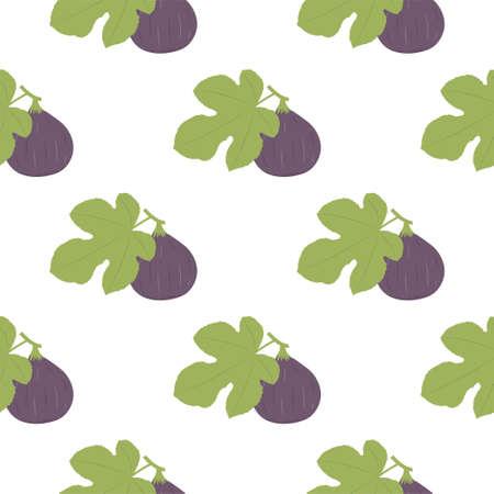 Figs Fruit. Seamless Vector Patterns on White Background Ilustração