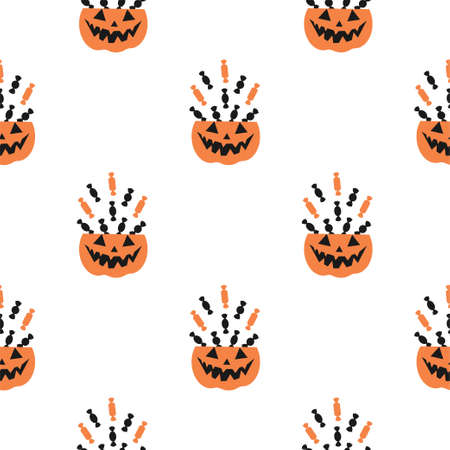 Halloween Seamless Pattern with Pumpkins, Sweets, Treats. Halloween Background with Pumpkins, Sweets, Treats. Vector Patterns in Flat style.
