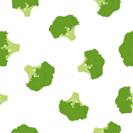 Broccoli cabbage. Seamless Vector Patterns on White Background