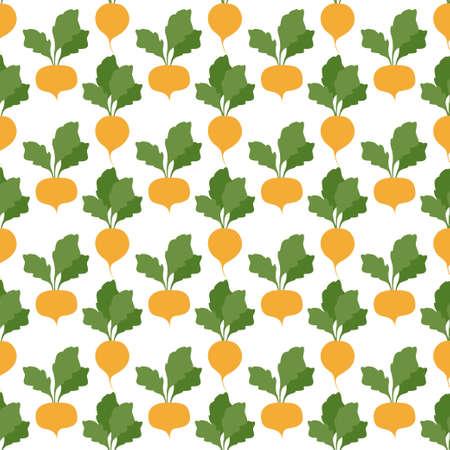 Turnip. Vegetables, healthy food. Seamless Patterns