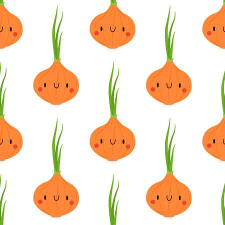 Kawaii Cartoon Onion Seamless Patterns on White Background