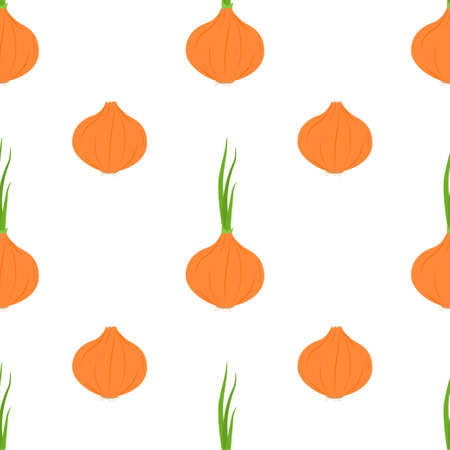 Onion Seamless Patterns on White Background
