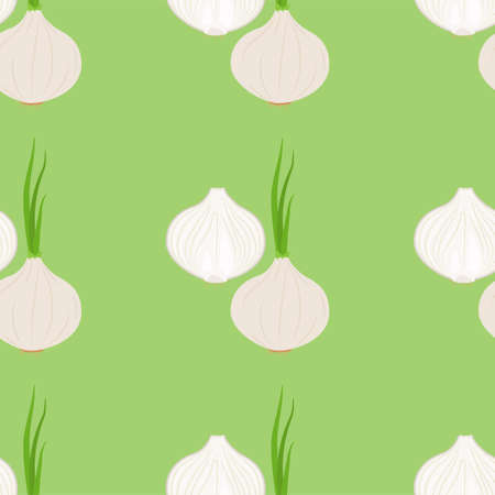 White Onion. Seamless Vector Patterns on White Background