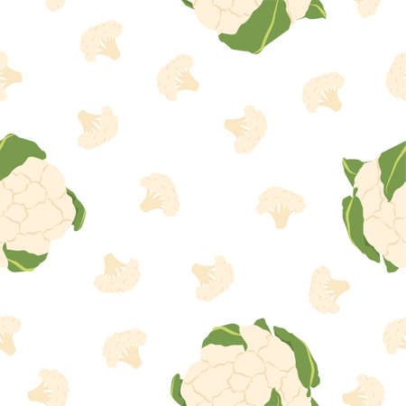 Cauliflower. Fresh and healthy food. Seamless Patterns on White Background