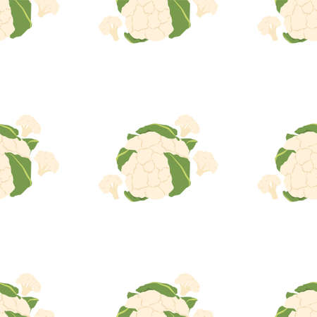 Cauliflower. Fresh and healthy food Seamless Patterns on White Background