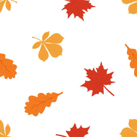 Autumn seamless patterns. Fall leaves. Vector illustration EPS 写真素材 - 155845448