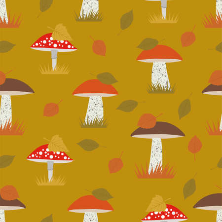 Seamless vector pattern with orange-cap boletus and fly agaric, amanita. Mushrooms background. Autumn seamless patterns 写真素材 - 155845449