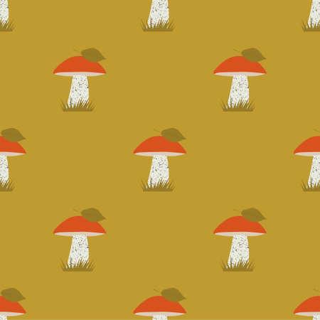 Seamless vector pattern with orange-cap boletus. Mushrooms background. Autumn seamless patterns  イラスト・ベクター素材