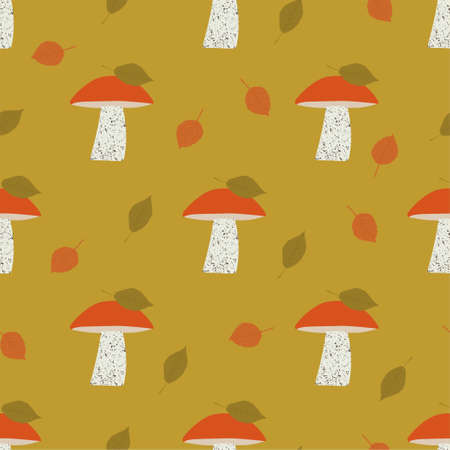 Seamless vector pattern with orange-cap boletus. Mushrooms background. Autumn seamless patterns 写真素材 - 155845453