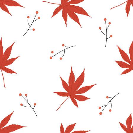 Autumn seamless patterns. Fall leaves. Vector illustration