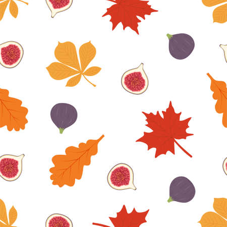 Autumn seamless patterns. Seamless pattern with figs and leaves. Vector illustration