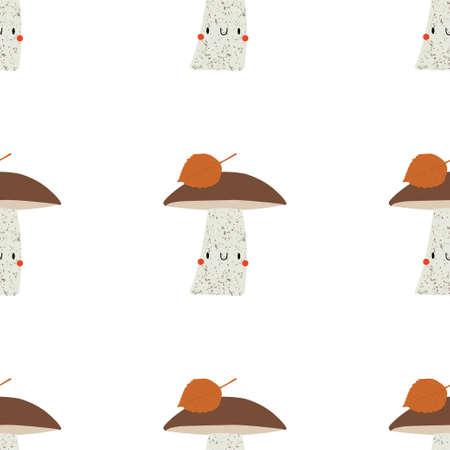 Seamless vector pattern with Kawaii Cartoon Orange-Cap Boletus. Mushrooms background