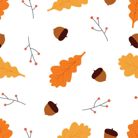 Seamless pattern with acorns and autumn oak leaves. Vector illustration
