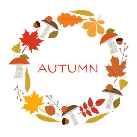 Autumn wreath of leaves and mushrooms. Vector illustration EPS