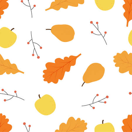 Autumn seamless patterns. Seamless pattern with pear, apple and leaves. Vector illustration