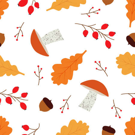 Seamless vector pattern with orange-cap boletus and Rose hip. Mushrooms background. Autumn seamless patterns