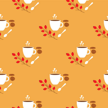 Hot Drinks with cookies. Cocoa, Coffee, Tea, Hot Chocolate. Autumn seamless patterns.