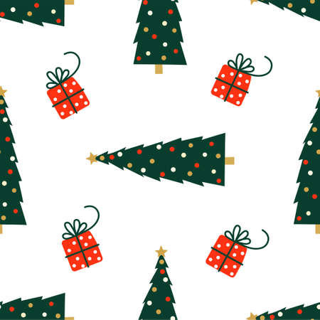 New Year and Christmas Patterns. Christmas tree and gifts. Vector illustration EPS 写真素材 - 155404475