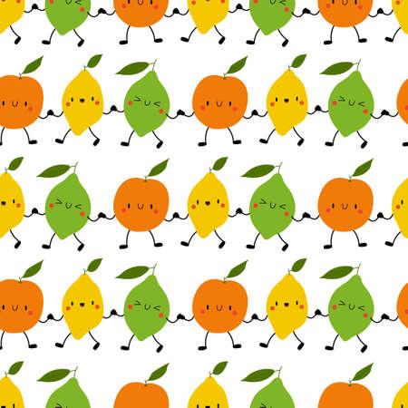 Kawaii Cartoon Fruit Patterns. Happy orange, lemon, lime hold hands.  イラスト・ベクター素材