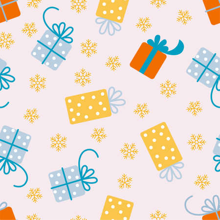 New Year and Christmas Patterns. Gift boxes. Vector illustration EPS  イラスト・ベクター素材