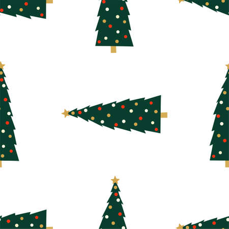 New Year and Christmas Patterns. Christmas tree. Vector illustration EPS