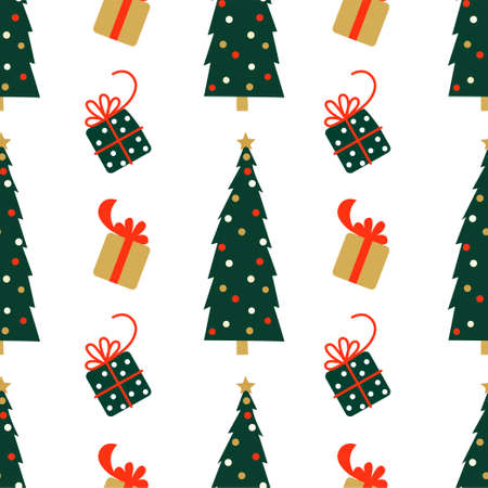 New Year and Christmas Patterns. Christmas tree and gifts. Vector illustration EPS 写真素材 - 155404489