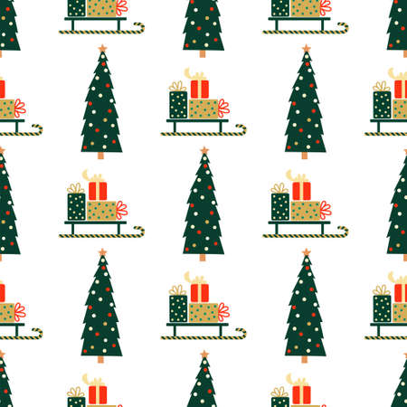 New Year and Christmas Patterns. Christmas tree and gifts. Vector illustration EPS 写真素材 - 155404490