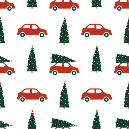 New Year and Christmas Patterns. Car with a Christmas tree.