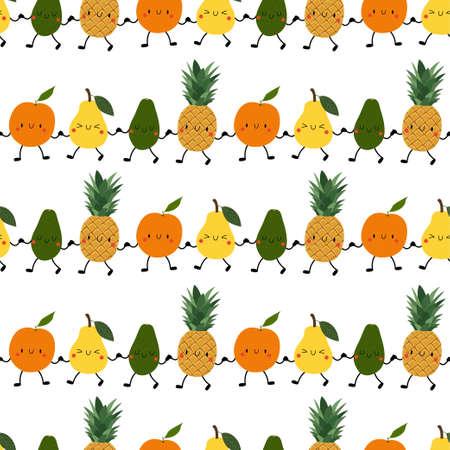 Kawaii Cartoon Fruit Patterns. Happy orange, pear, avocado, pineapple hold hands.