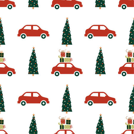New Year and Christmas Patterns. Car with Christmas gifts. 写真素材 - 155404494