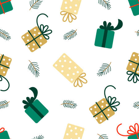 New Year and Christmas Patterns. Gift boxes. Vector illustration EPS 写真素材 - 155404497