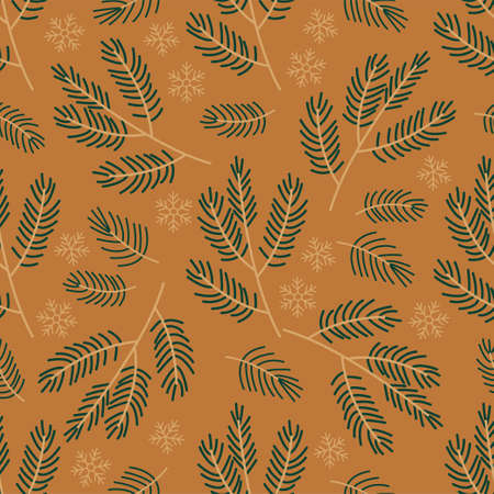 New Year and Christmas Patterns. Branches of a Christmas tree.