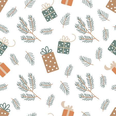 New Year and Christmas Patterns. Gift boxes and fir branches. Vector illustration EPS  イラスト・ベクター素材