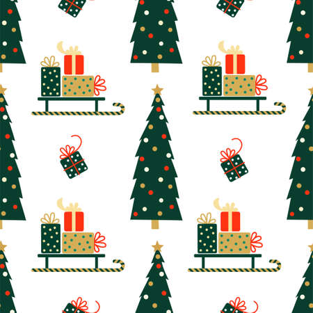 New Year and Christmas Patterns. Christmas tree and gifts. Vector illustration EPS 写真素材 - 155404524