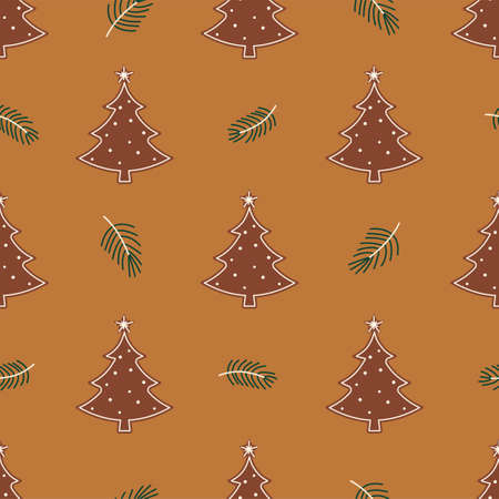 New Year and Christmas Patterns. Gingerbread Christmas tree.