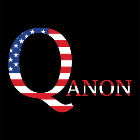 QAnon conspiracy theory. President and his supporters. Vector Illustration EPS