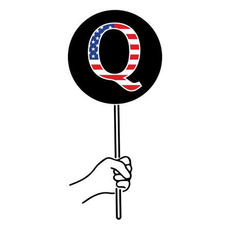 QAnon conspiracy theory. President and his supporters. Vector Illustration EPS 写真素材 - 155701967