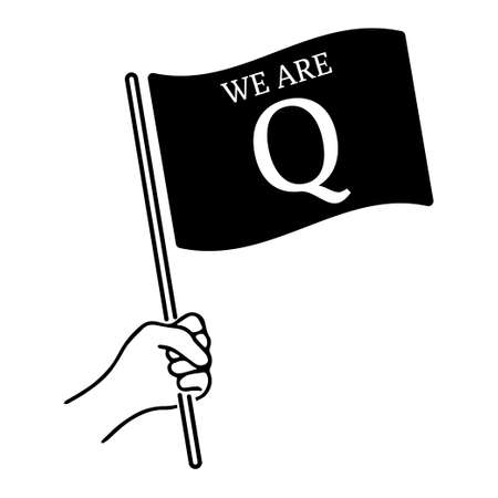 QAnon conspiracy theory. President and his supporters. Vector Illustration EPS 写真素材 - 155701982