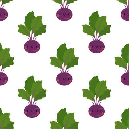 Kawaii Cartoon Cabbage Kohlrabi. Fresh and healthy food. Seamless Patterns  イラスト・ベクター素材