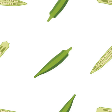 Okra, ochro, ladies fingers. Fresh and healthy food. Seamless Vector Patterns  イラスト・ベクター素材