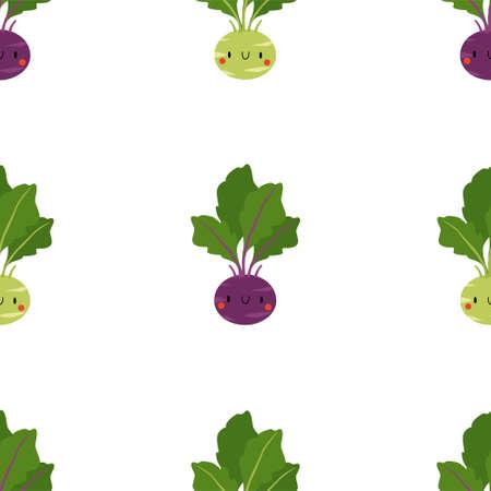 Kawaii Cartoon Cabbage Kohlrabi. Fresh and healthy food.  イラスト・ベクター素材