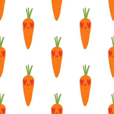 Kawaii Cartoon Carrots in love. Colored Seamless Vector Patterns  イラスト・ベクター素材