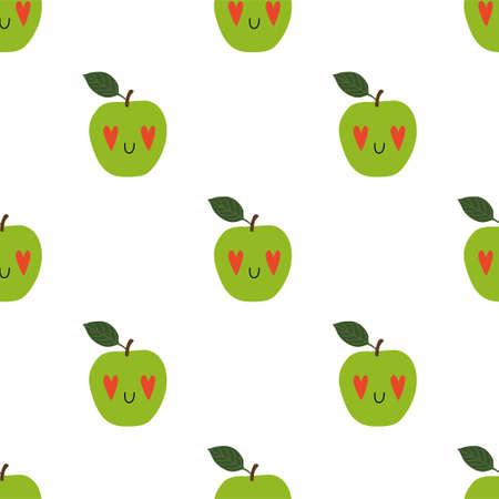 Kawaii Cartoon Apple in love. Seamless Vector Patterns  イラスト・ベクター素材