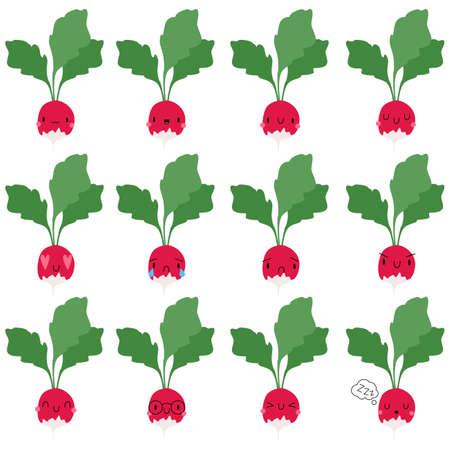 Set Kawaii Cartoon Radish. Vector Illustration. Social media comment reactions, smile, sad, love, like, Lol, laughter emoji