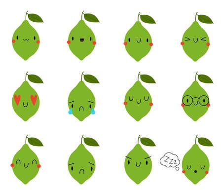 Set Kawaii Cartoon Lime. Vector Illustration. Social media comment reactions, smile, sad, love, like, Lol, laughter emoji