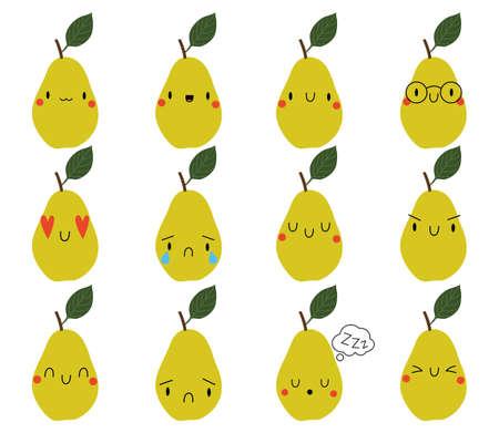 Set Kawaii Cartoon Pear. Vector Illustration. Social media comment reactions, smile, sad, love, like, Lol, laughter emoji