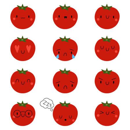 Set Kawaii Cartoon Tomato. Vector Illustration. Social media comment reactions, smile, sad, love, like, Lol, laughter emoji