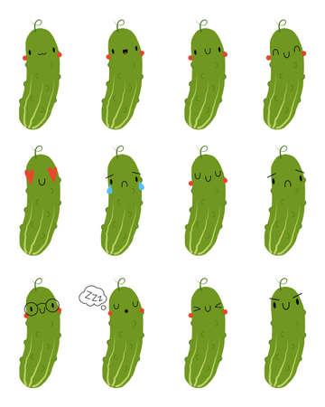 Set Kawaii Cartoon Cucumber. Vector Illustration. Social media comment reactions, smile, sad, love, like, Lol, laughter emoji