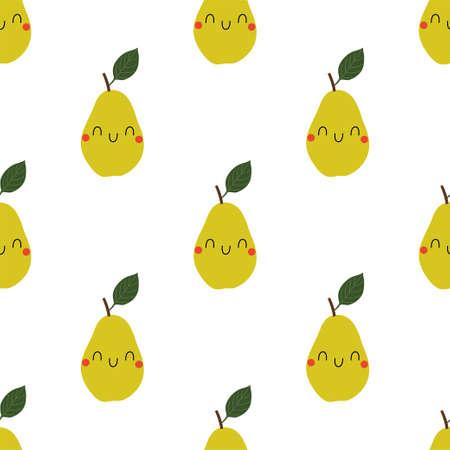 Kawaii Cartoon Pear. Colored Seamless Vector Patterns.
